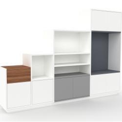 Photo of Wohnwand Weiß – Individuelle Designer-Regalwand: Schubladen in Nussbaum & Türen in Weiß – Hochwertig