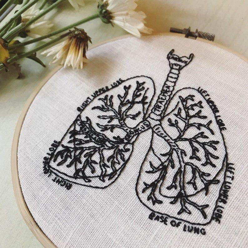 Lungs Anatomy Embroidery Pattern   DIY Digital Download   Modern Hand Embroidery -   - #Anatomy #digital #DIY #Download #Embroidery #EmbroideryPatterns #Hand #HandEmbroidery #HandEmbroideryPatterns #Lungs #MachineQuilting #Modern #Pattern #QuiltPatterns
