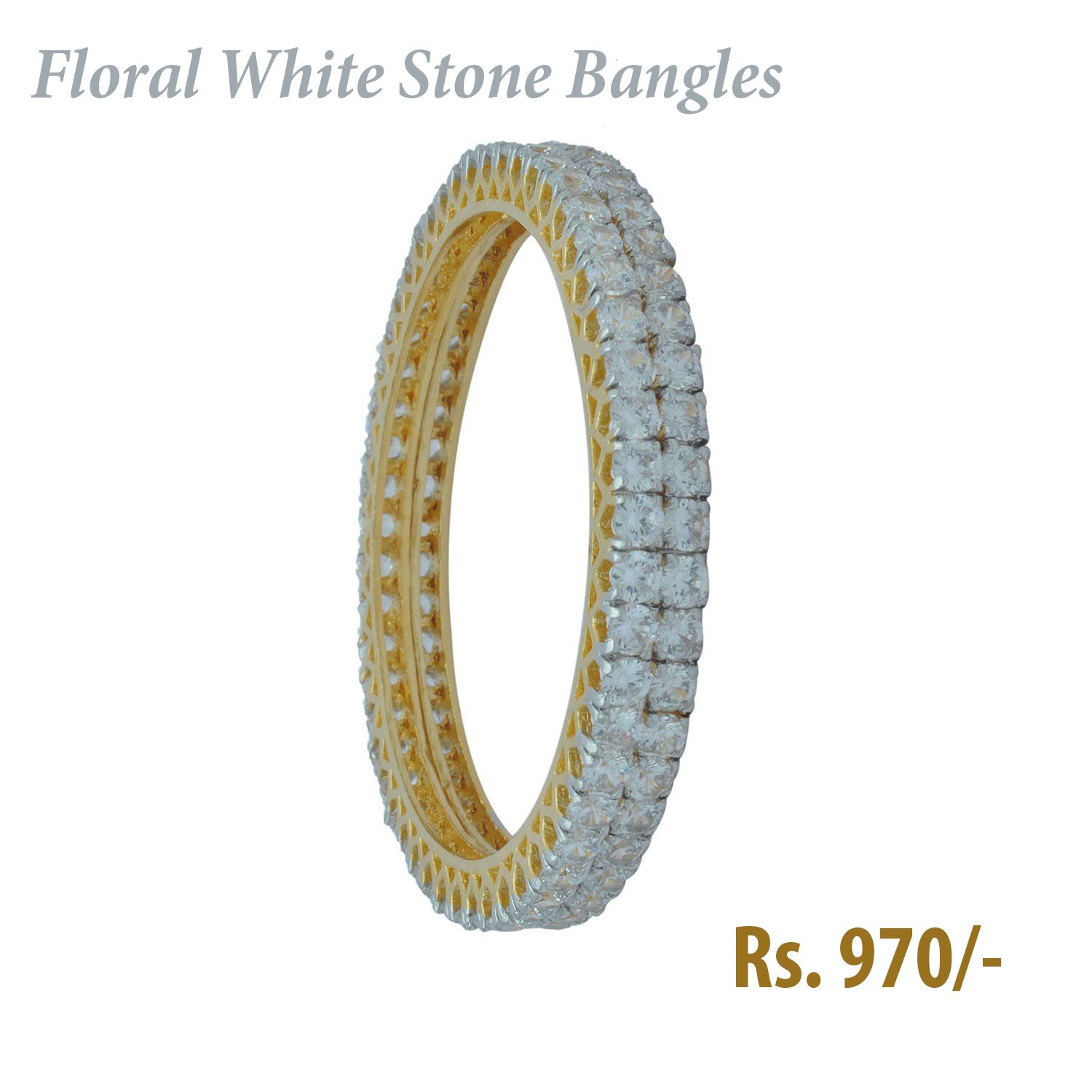 2a82af239c3 How Cute & Affordable Floral White Stone #Bangles of Rs. 970/-. It is  Suitable for #Western Outfitters. #Jewelry #Banglzz Shop it here: