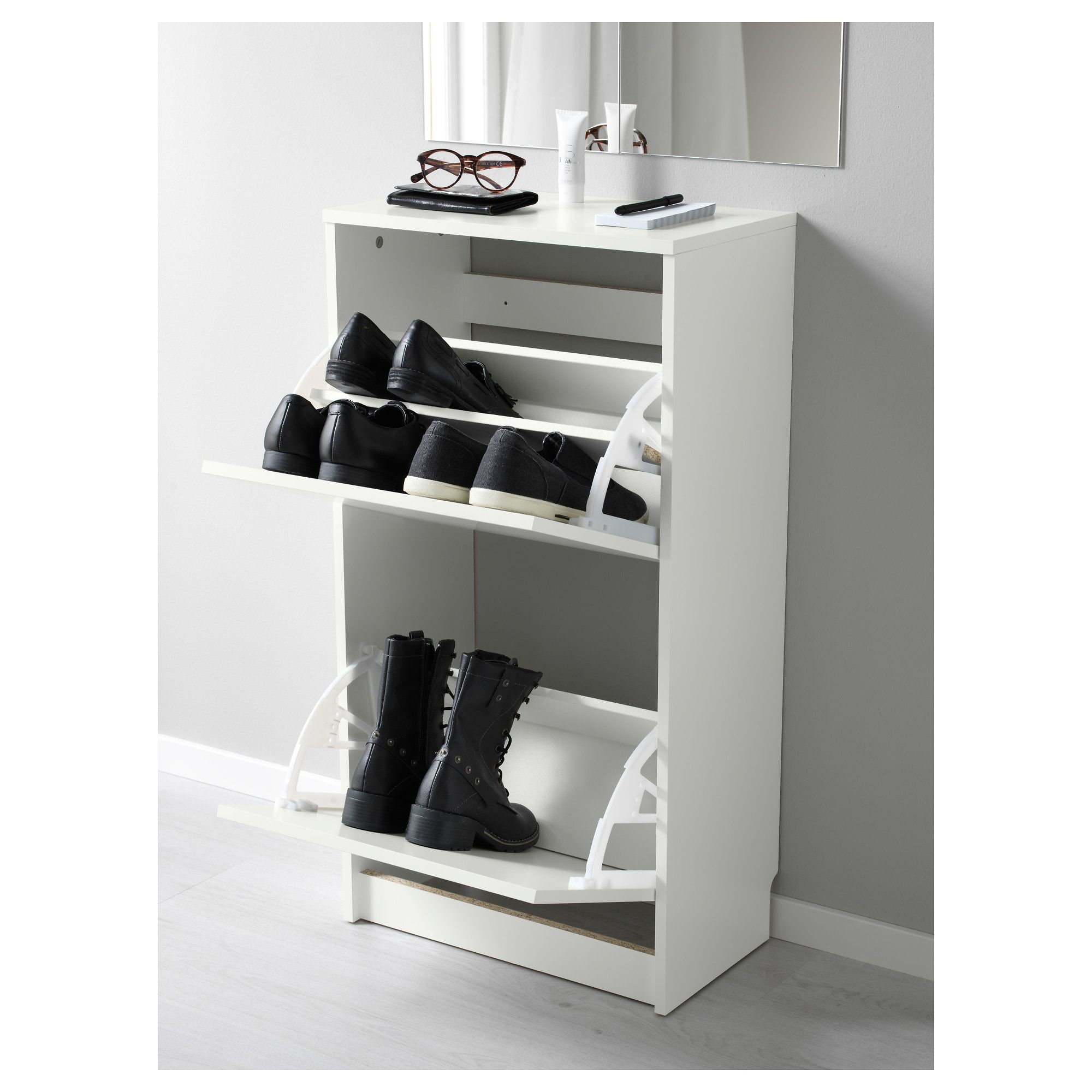 Ikea Bissa White Shoe Cabinet With 2 Compartments
