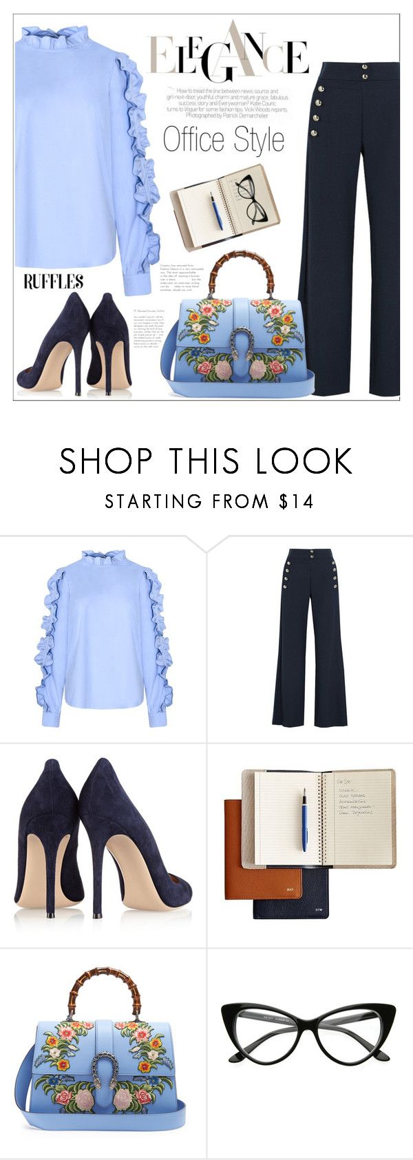 """""""Add Some Flair: Ruffled Tops"""" by amchavesj-1 ❤ liked on Polyvore featuring Chloé, Gianvito Rossi, Mark & Graham, Gucci and ruffledtops"""