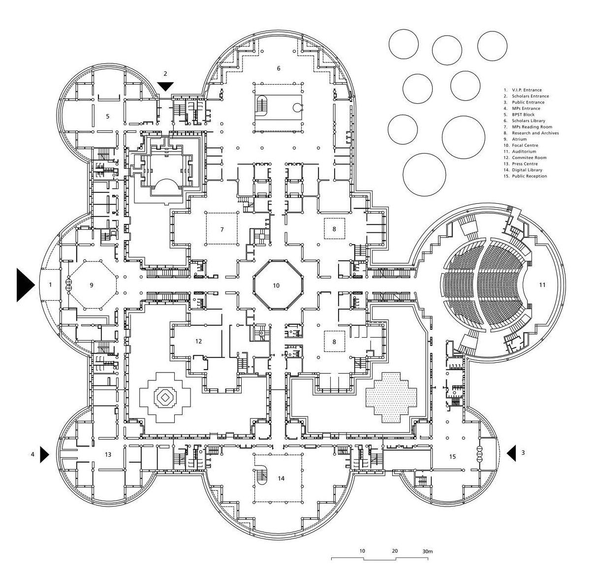 Floor Plan For The Parliament Building New Delhi