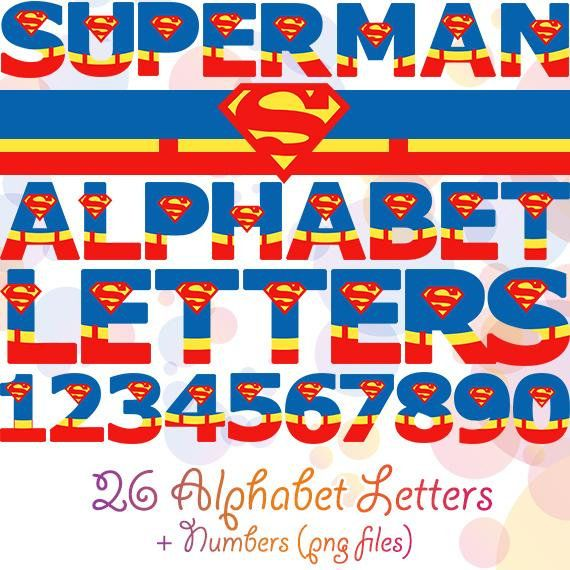 Superman Alphabet Letters Amp Numbers Clip Art Graphics Digital PNG Clipart Boys Party Decorations Sup