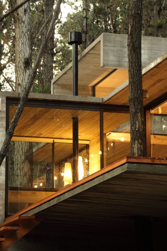 the wooden forest JD house designed by BAK Architects in the forest of Mar Azul, in the Argentinian province of Buenos Aires