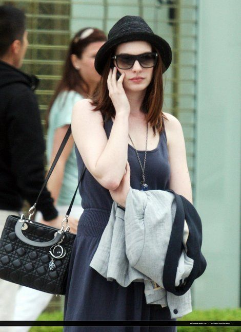 d87c69b184df Anne Hathaway carrying Lady Dior bag.Celebrity Street bag style.