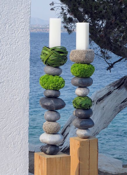 stacked and decorated Pebbles (moss, leaves, flower buds) (S Kokkinos)