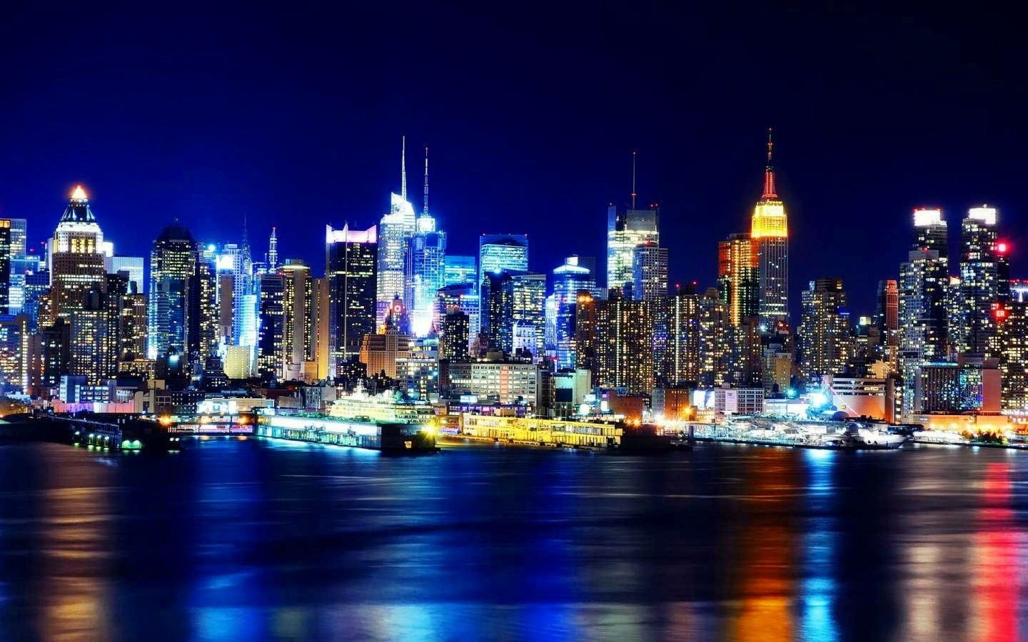 ArchitectureIMG.com - Night Time City Modern Skyscrapers Architecture Desktop Background Images