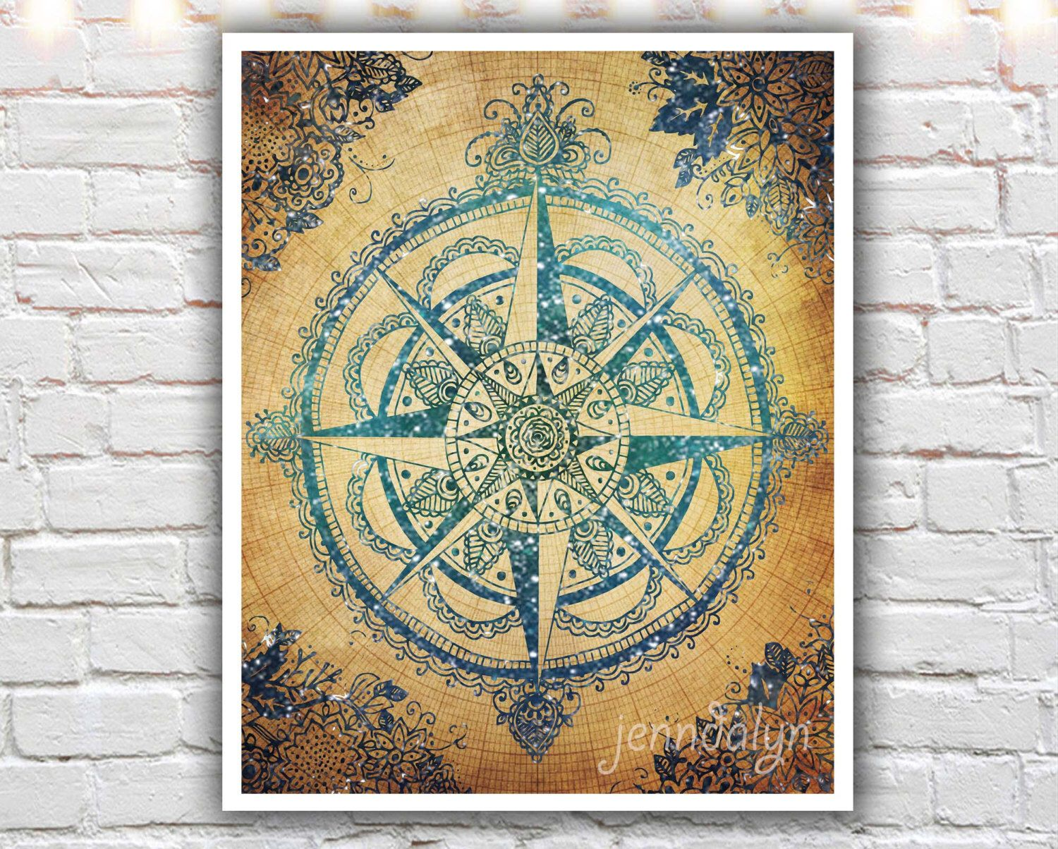 Voyager III - fine art print, compass rose print, travel art, wanderlust print, bohemian home decor, boho chic, illustration print by Jenndalyn on Etsy https://www.etsy.com/listing/186298432/voyager-iii-fine-art-print-compass-rose