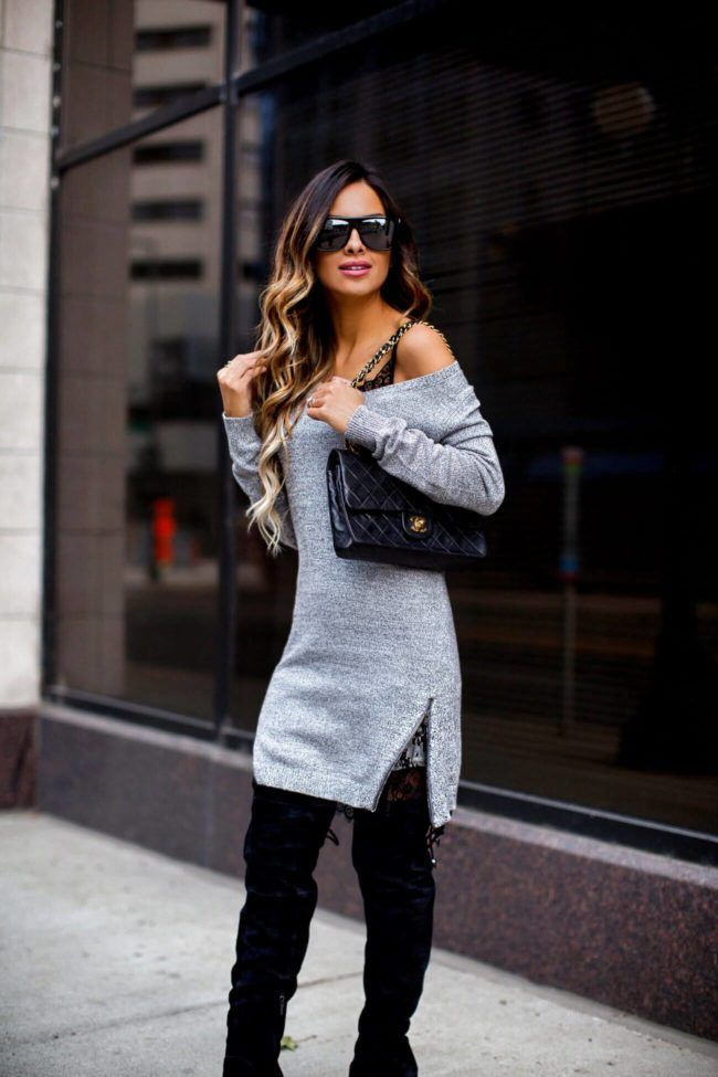 fashion blogger mia mia mine wearing a gray off-the-shoulder sweater dress  from Nordstrom b9e331fb9