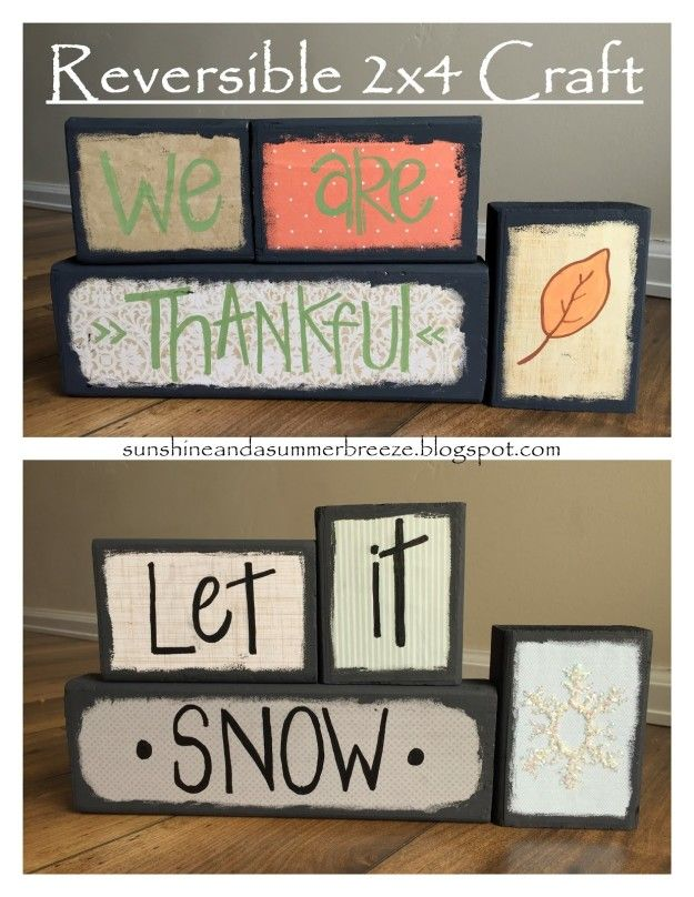Photo of Paint your scraps differently on each side to make reversible holiday decor that can stay up from November through January.