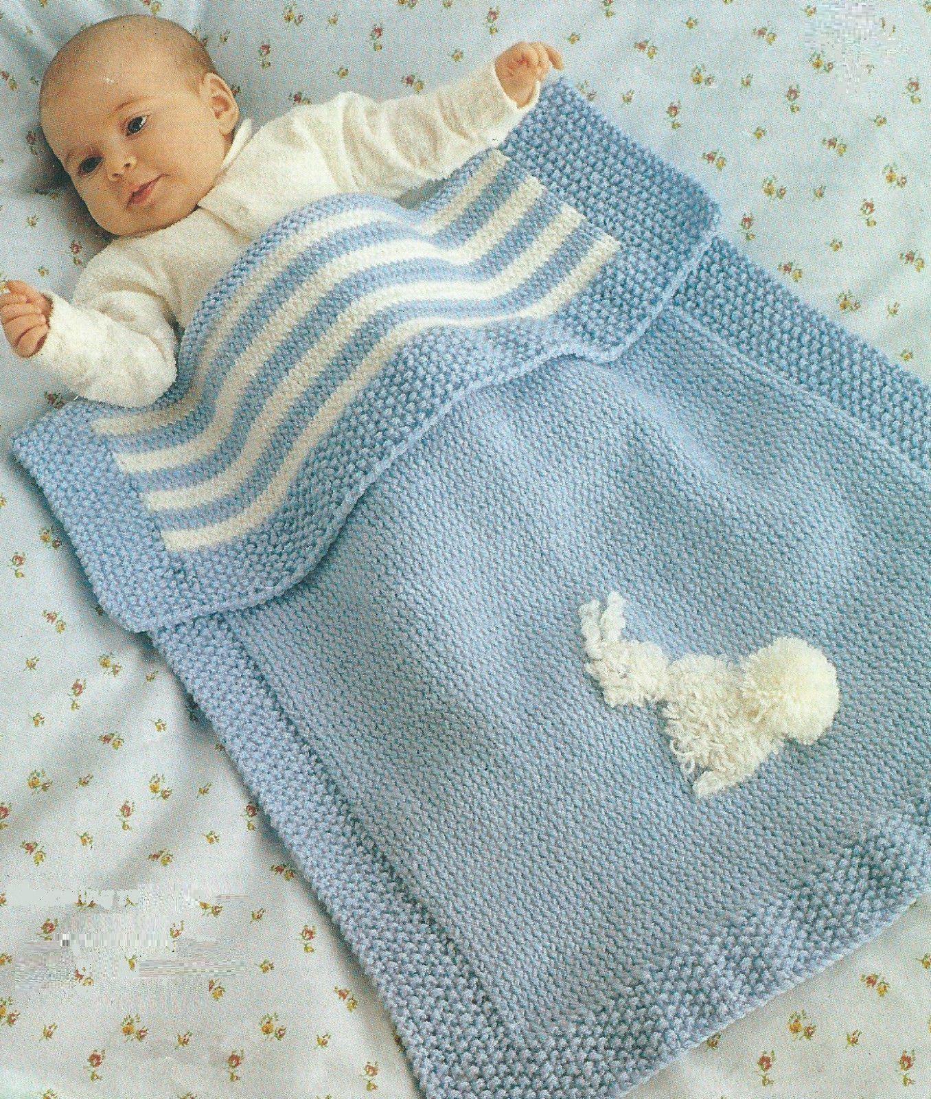 Baby Blanket Knitting Pattern Pram Cover DK Easy Knit 296 | Knitting ...