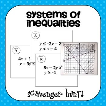 Systems Of Inequalities Scavenger Hunt School Algebra