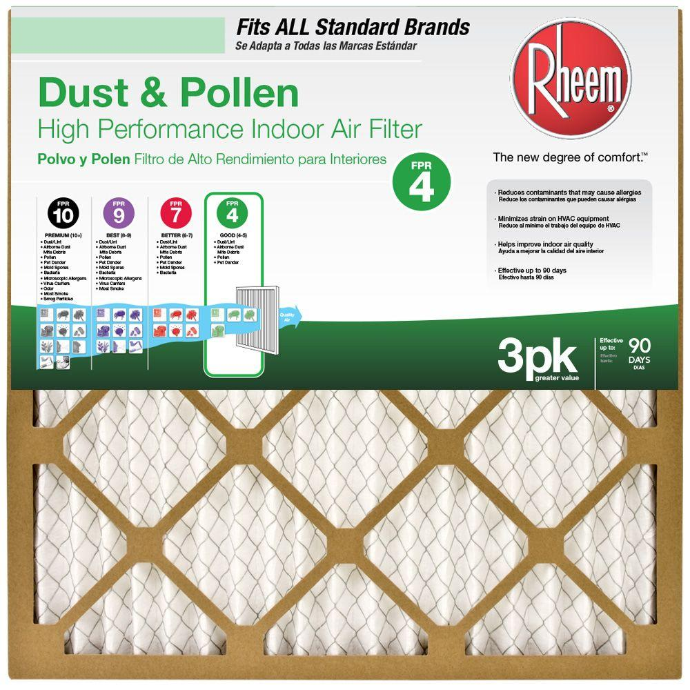 Rheem 12 In X 20 In Basic Household Pleated Fpr 4 Air Filter 3 Pack Case Of 4 Air Filter Air Filter Sizes Filters
