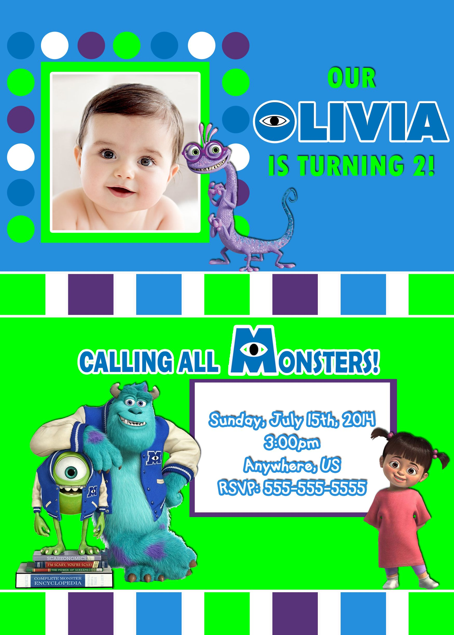 Monsters Inc University Birthday Invitations $8.99 | Monsters Inc ...