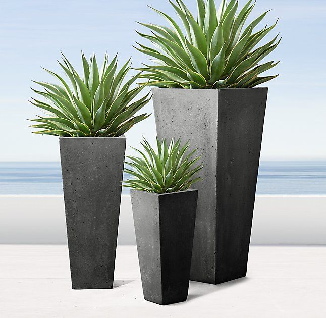 Rh Modern 39 S Salento Tapered Planters At Once Modern And Rustic Our Faux Stone Planters Pair Geomet Stone Planters Modern Planters Outdoor Front Yard Decor