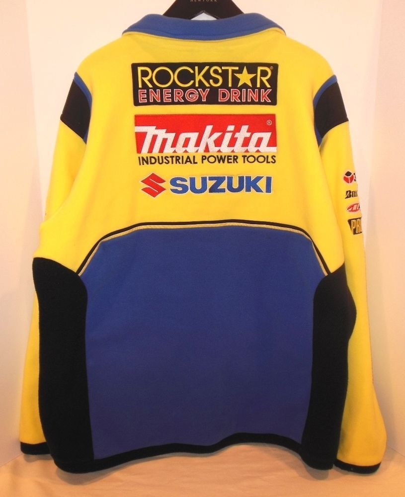 d14afa895 Rockstar Makita Suzuki Team 3XL Fleece Racing Jacket Coat Blue Yellow XXXL
