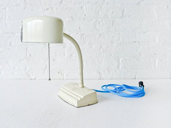 Vintage Retro Gooseneck Desk Lamp w/ Turquoise Color Cord