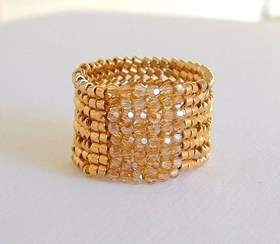 Statement Ring of 18kt Gold Plated Delica Beads and by mostlybeads