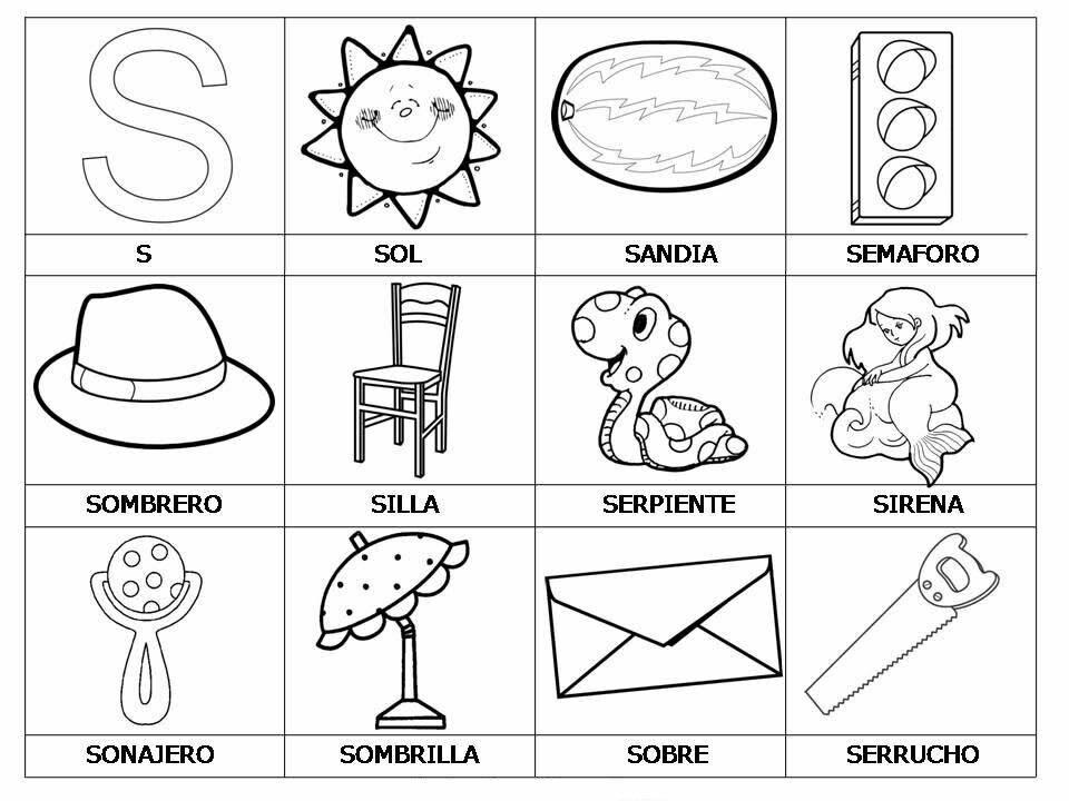 Palabras Con S El Alfabeto 3 Learning Letters Preschool Spanish