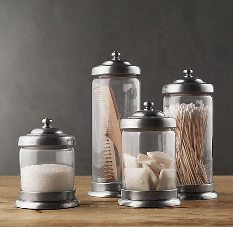 Apothecary Pewter & Glass Bath Jars | ideas for my next ...