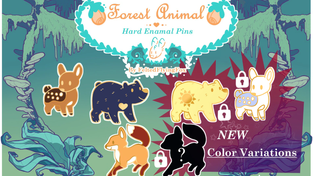 Cute Forest Animals Hard Enamel Pins By Erin Nakamura Kickstarter Forest Animals Hard Enamel Pin Animals