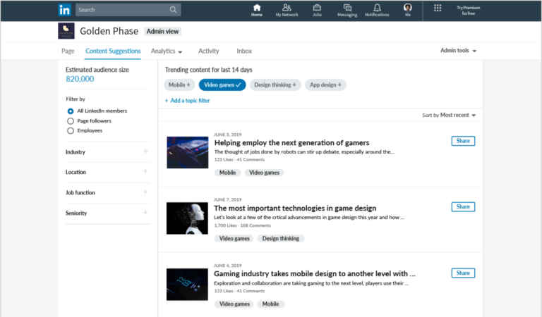 Linkedin Company Pages Get A Refresh With New Content Suggestion
