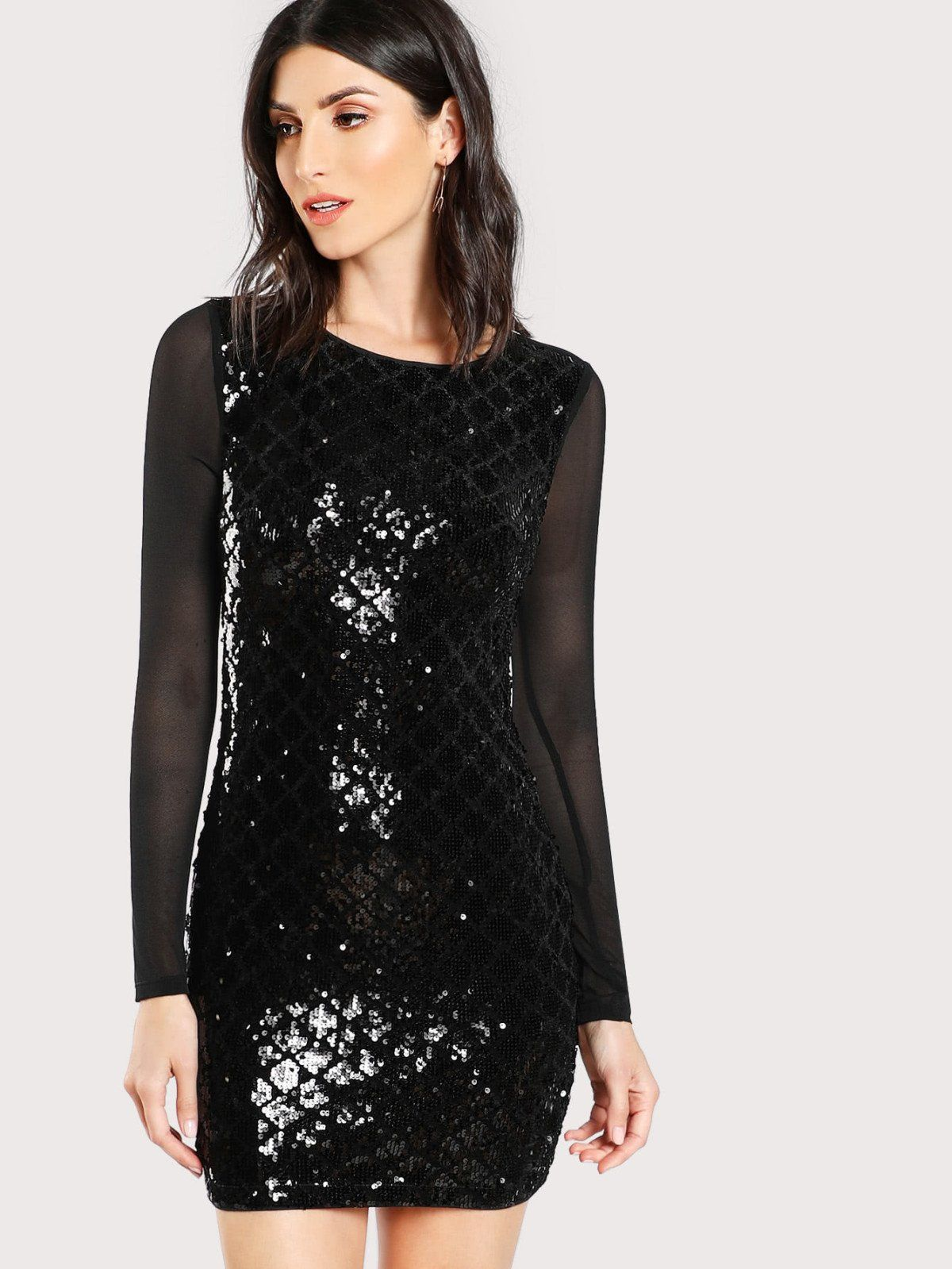 Sheer back sequin dress products