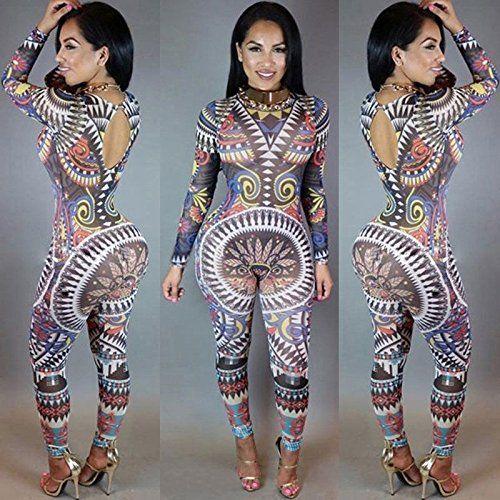 040106f0908 Sunglow New Womens Print Long Sleeve Bodycon Romper Jumpsuit Club Bodysuit  Long Pants multi-color L