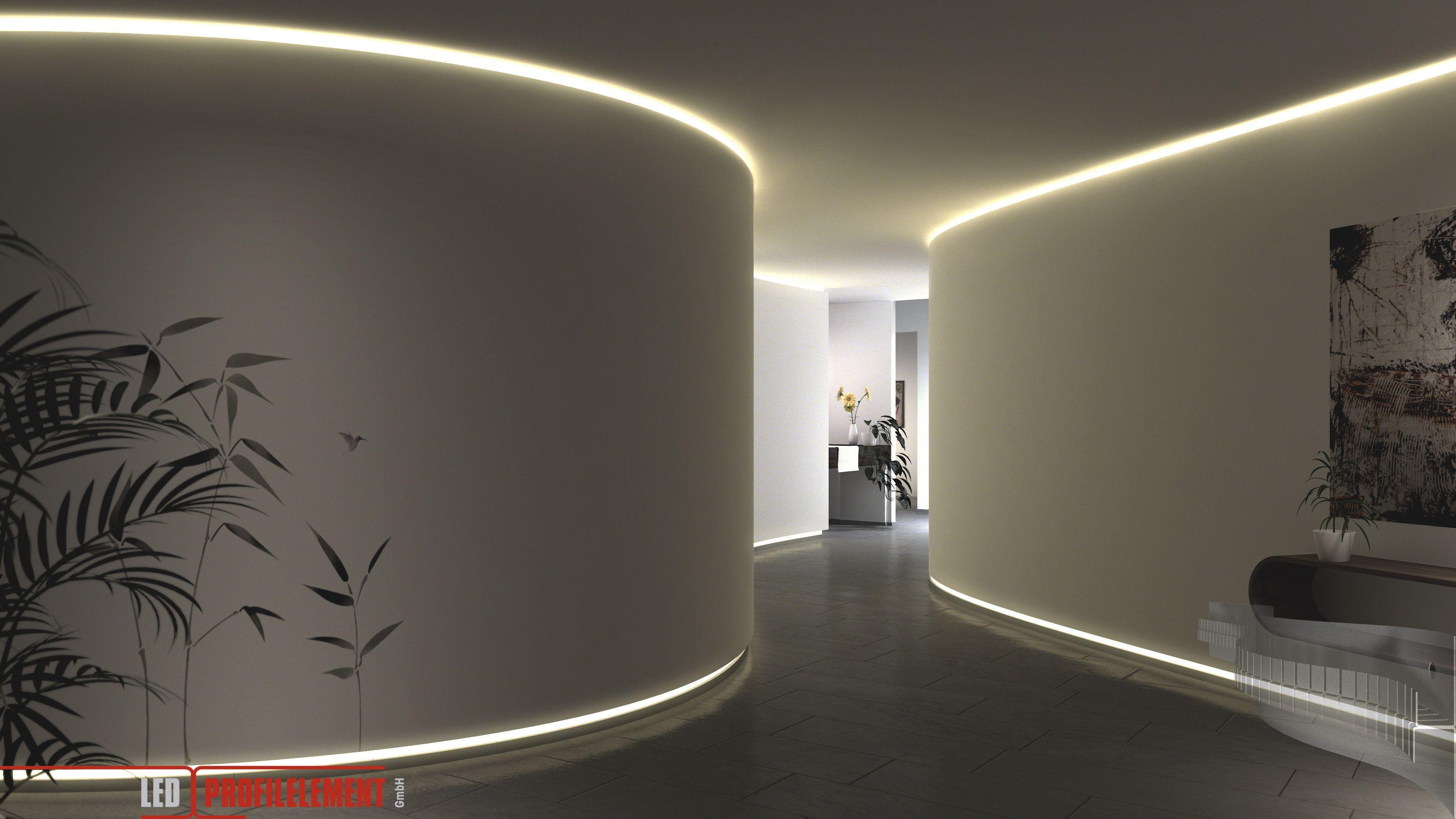 Indirekte Beleuchtung Tolle Variante Fur Grosse Raume Und Eingangshallen Www Ledprofilelement De Wandbeleuchtung Beleuchtung Seitenbeleuchtung