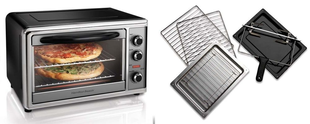 Large Countertop Convection Toaster Oven Rotisserie W 2 Racks
