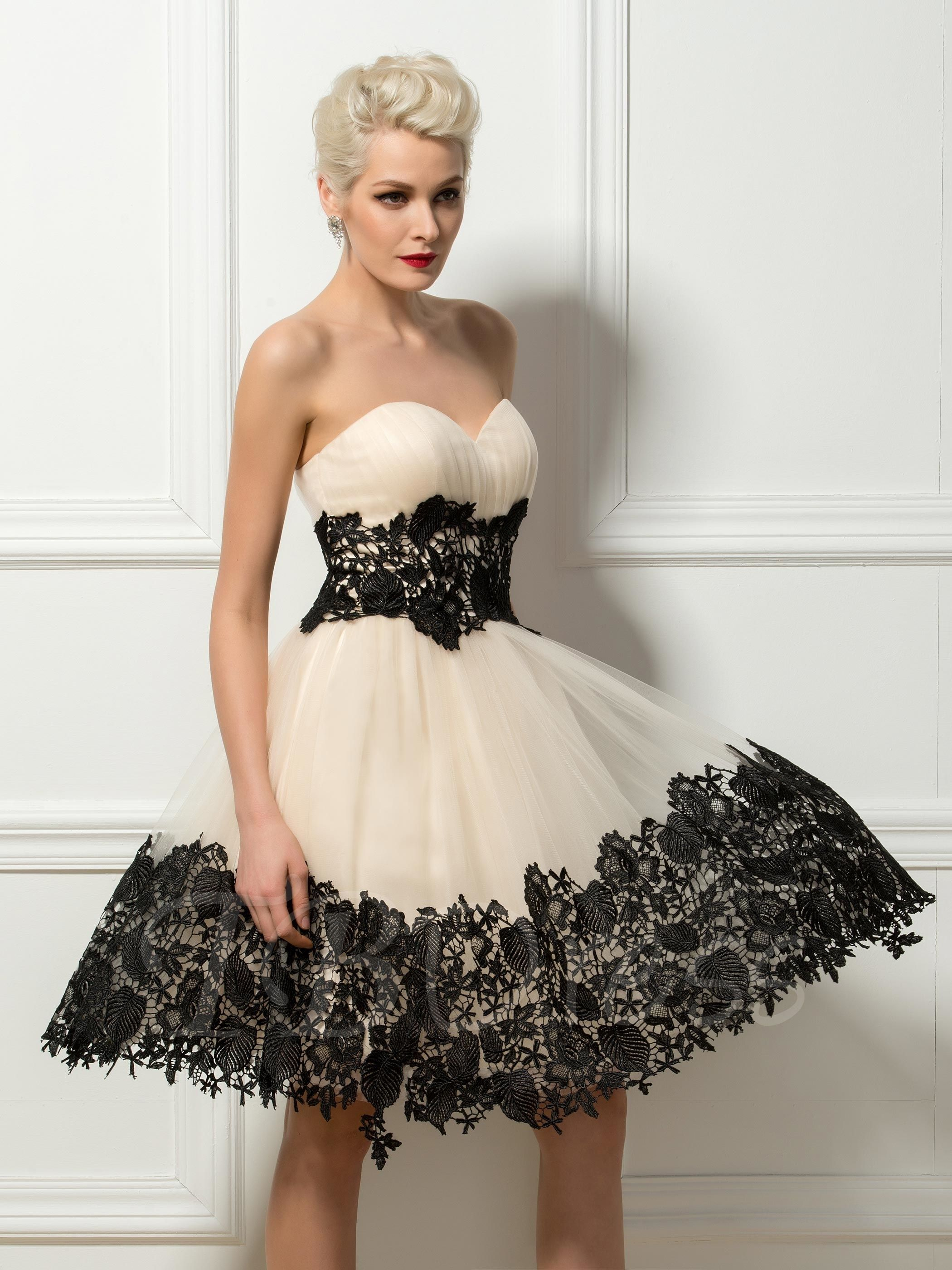 Strapless Sweetheart Lace Appliques Cocktail Dress | Applique ...