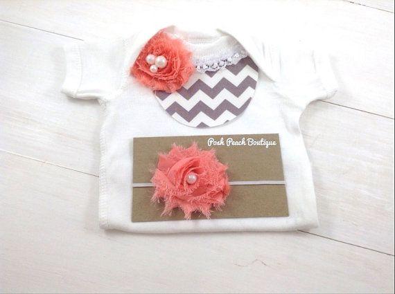 Coral and Gray Chevron Lace Bib Onesie Set - Chiffon Flower Bib Onesie and Matching Elastic Headband // Newborn Outfit // Baby Shower on Etsy, $17.95
