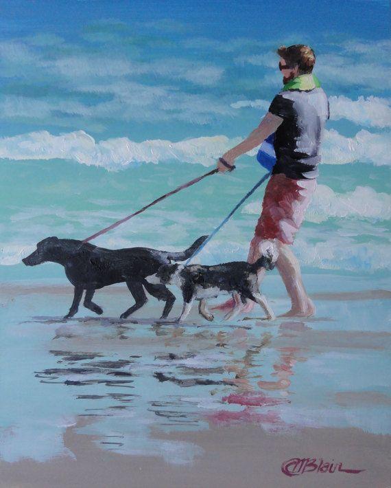 Original Framed Painting Dogs On Beach Painting Border Etsy Beach Painting Dog Beach Nautical Art