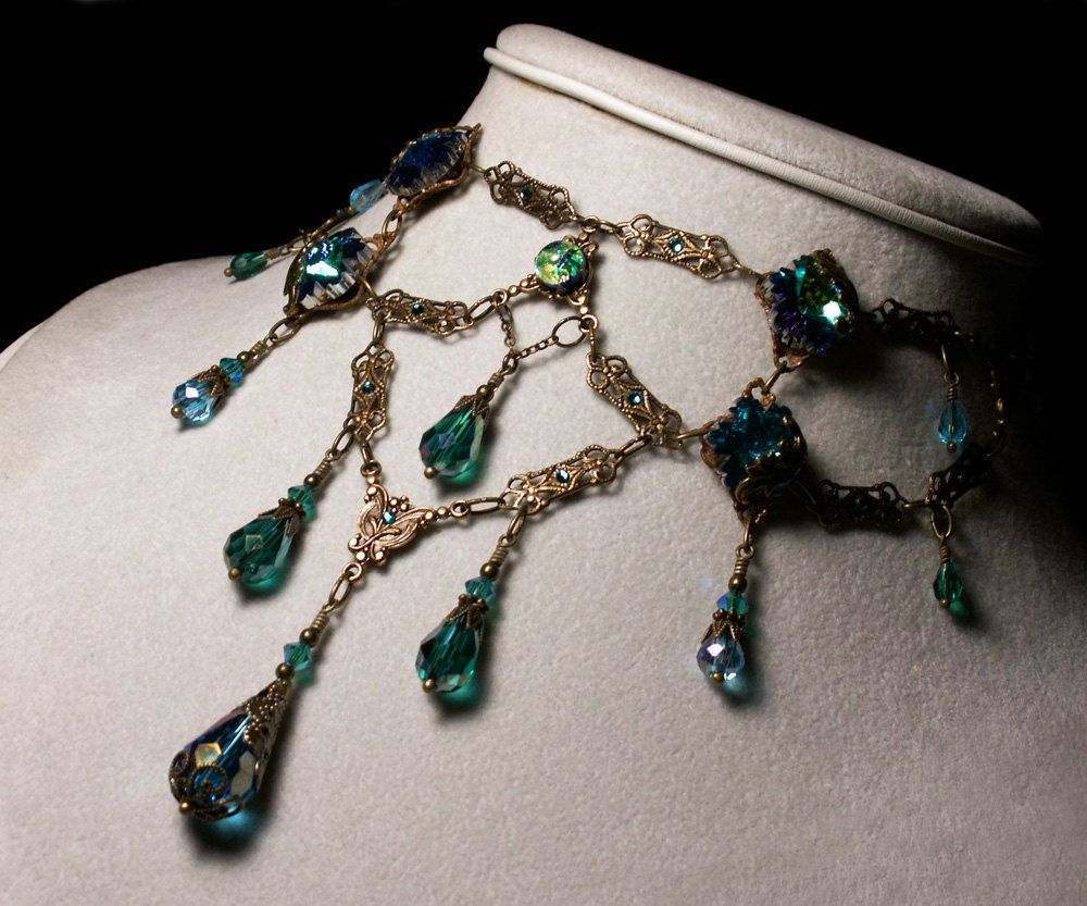 Peacock Blue Green Opal Crystal Choker Necklace Steampunk Jewellery Vintage  Victorian Bridal Style 3c5ff2a5261