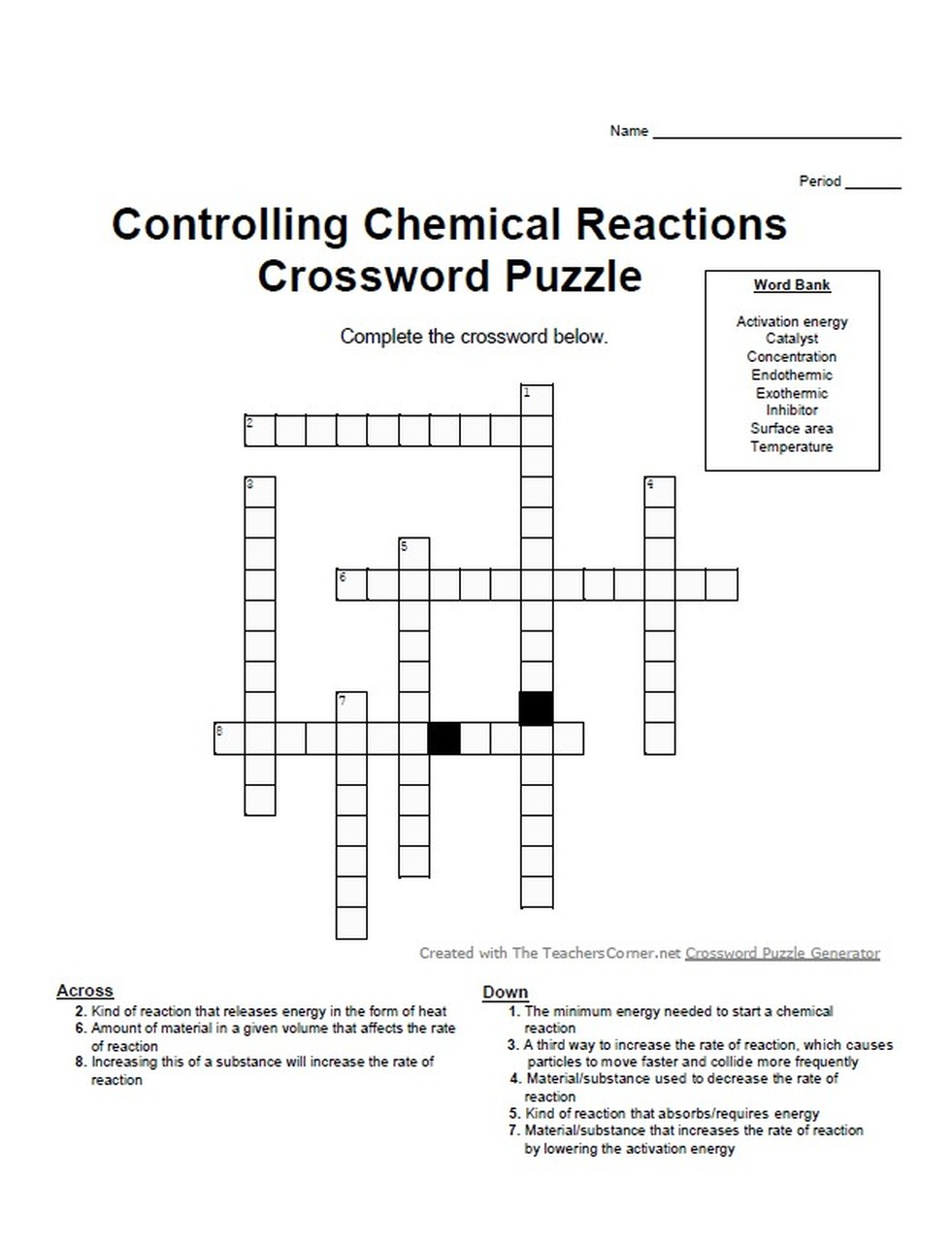 Introduction To Chemistry Controlling Chemical Reactions Crossword Puzzle Chemistry Activities Crossword Puzzle Chemical Reactions [ 1280 x 981 Pixel ]