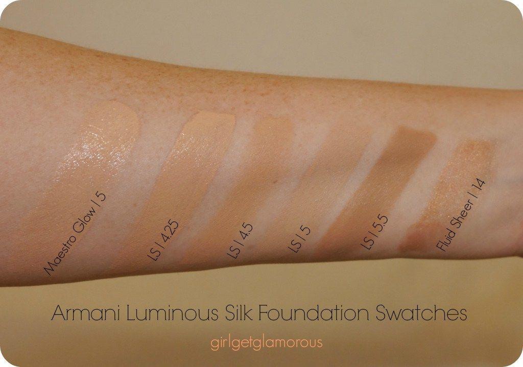 Armani Luminous Silk Foundation Swatches 4 25 4 5 5 5 5 Girlgetglamorous Foundation Swatches Luminous Silk Foundation Giorgio Armani Luminous Silk