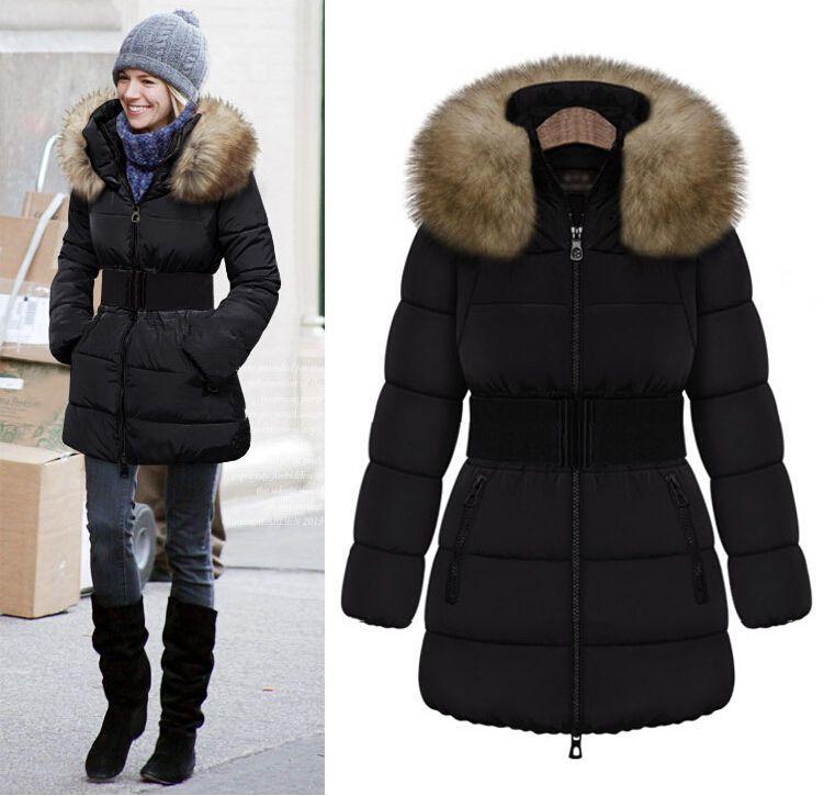 Winter womens duck down coat belt zipper parka fur collar hooded trench  coats