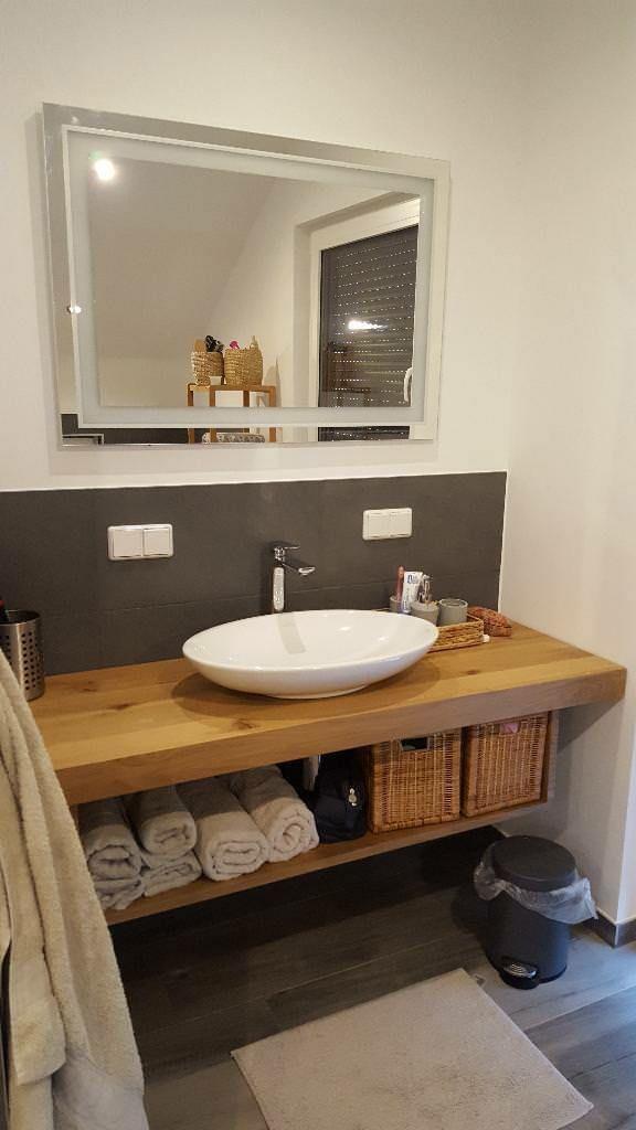 Waschtisch Platte Brett Konsole Baumkante massiv Holz Eiche Maß in Berlin - Kreuzberg | Badezimmer Ausstattung und Möbel | eBay Kleinanzeigen #downstairsloo