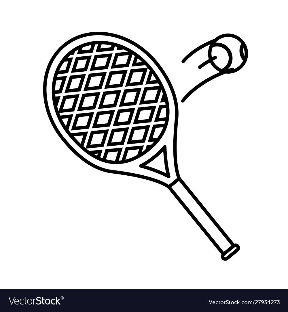 Sport Tennis Racket With Ball Line Style Icon Vector Image Ad Racket Ball Sport Tennis Ad Sport Tennis Tennis Racket Rackets