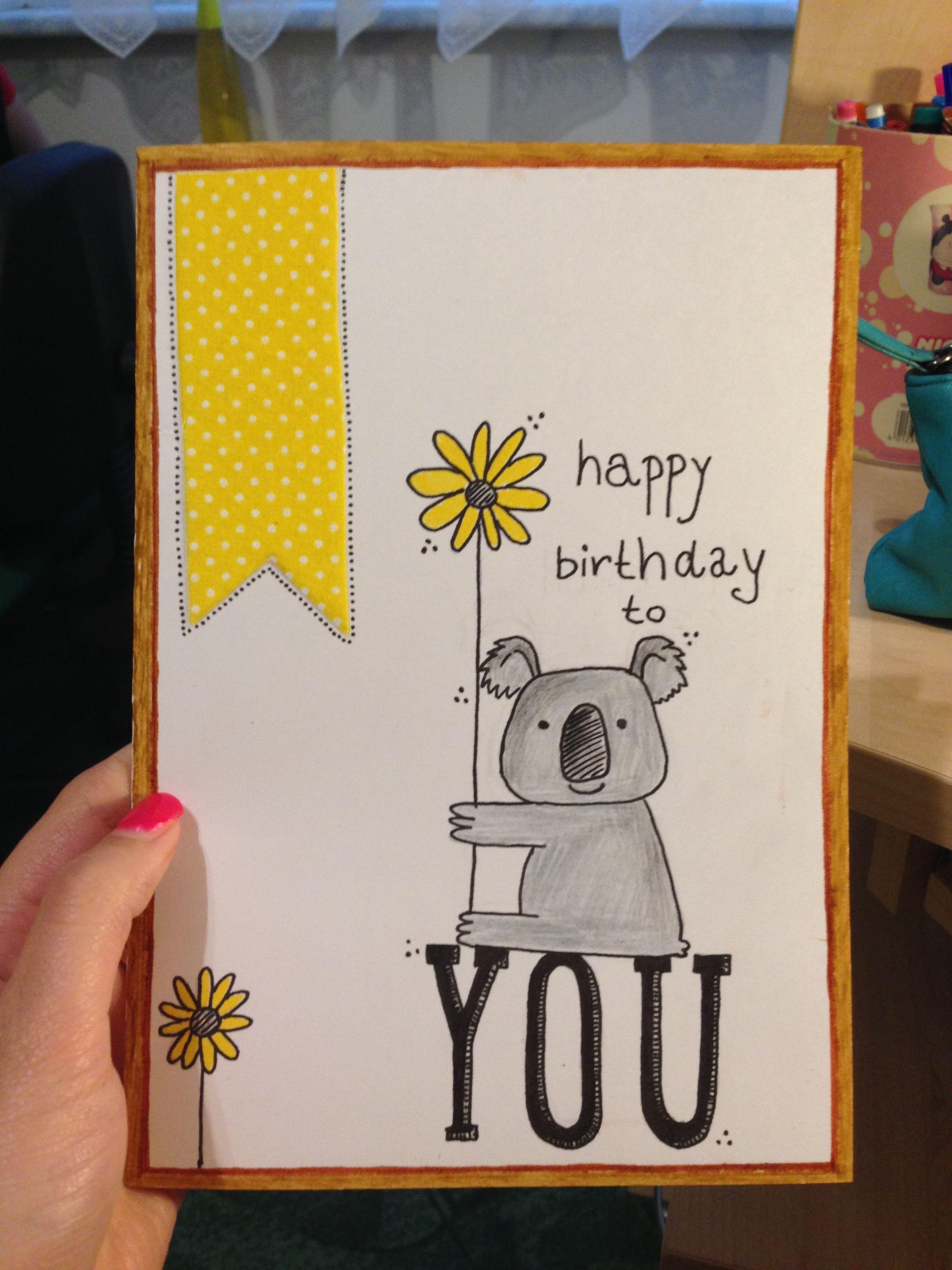 Diy Birthday Card Koala Happy Bird Day Birthday Cards Birthday Cards Diy