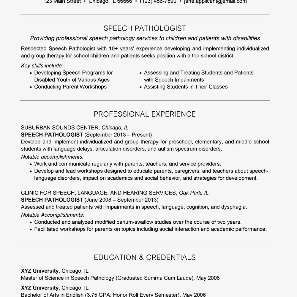 Examples Of A Speech Pathologist Resume And Cover Letter With Regard To Speech And Language Re Resume Writing Services Resume Examples Resume Template Examples