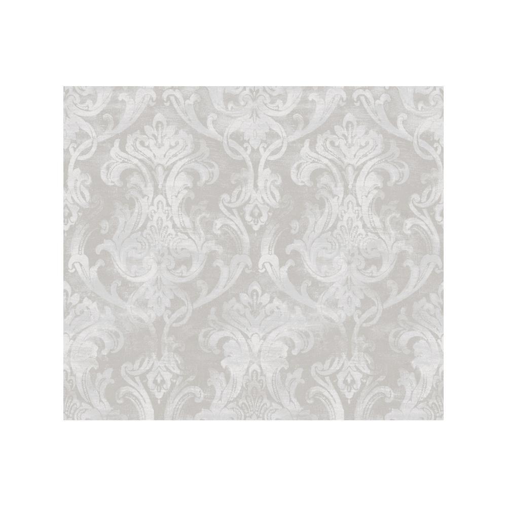 Elsa Blue Ornate Damask Wallpaper Sample Light Grey