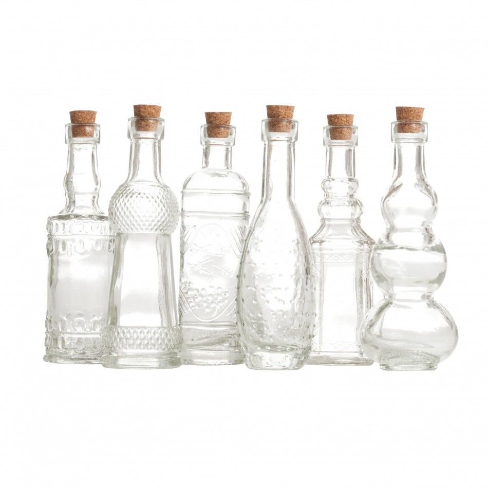4.5 Clear Glass Bottle Assortment (12 Bottles) [57/9205 Glass Bottle ...