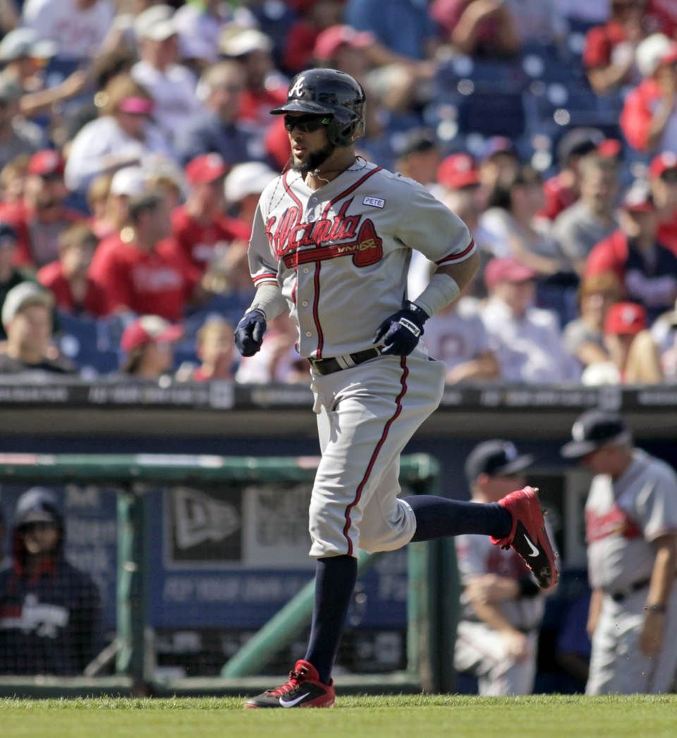 Atlanta Braves Emilio Bonifasico Runs The Bases After Hitting A Solo Home Run During The First Inning Of A Baseball Game Agains Braves Phillies Atlanta Braves