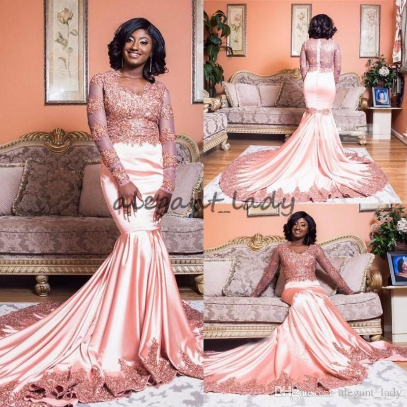 Mermaid Long Sleeve Arabic Dresses Evening Wear Lace Appliqued Pink V Neck  South African Nigeria Prom 23e3cffc9af4