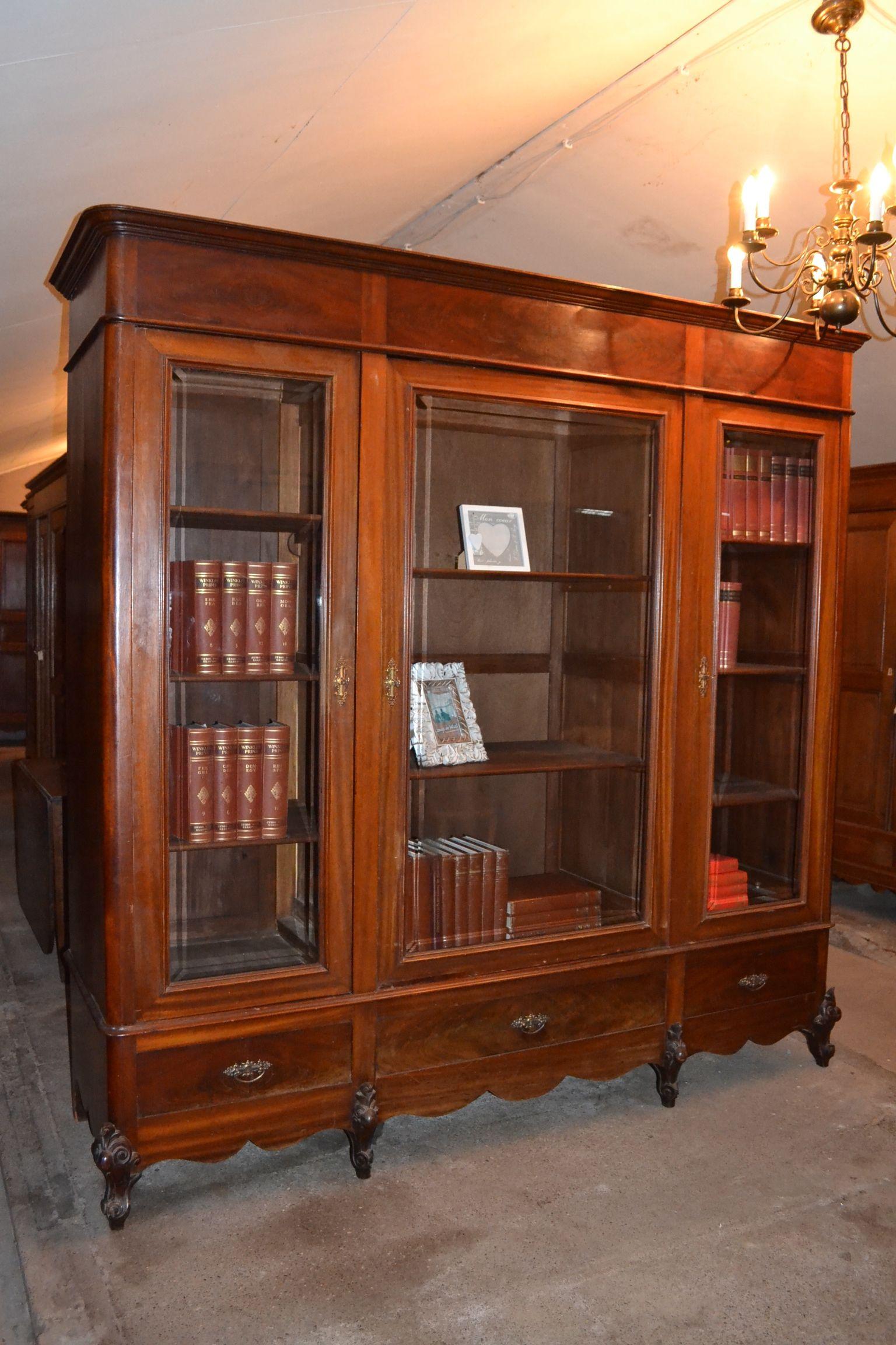 grote antieke mahonie bibliotheekkast boekenkast wwwdenoudensteeghnl
