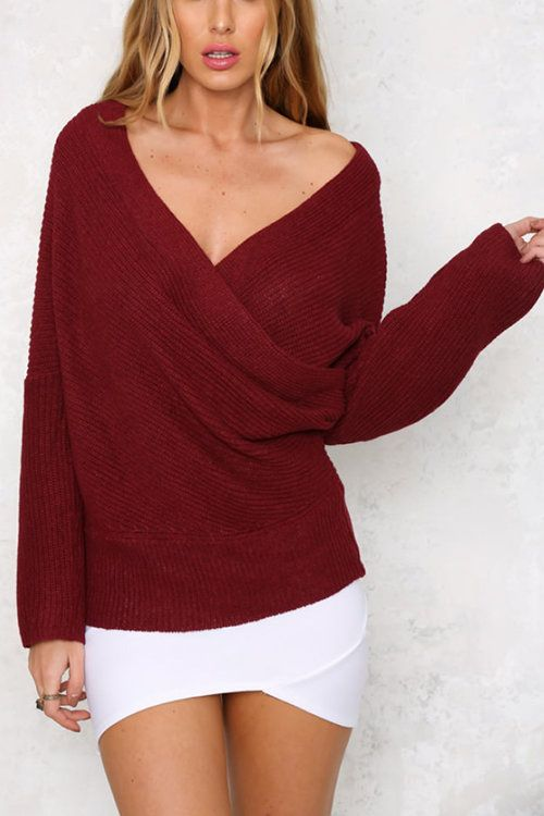 94a6f25375711a Burgundy Sexy Off-shoulder Wrapped Sweater Wrap Sweater