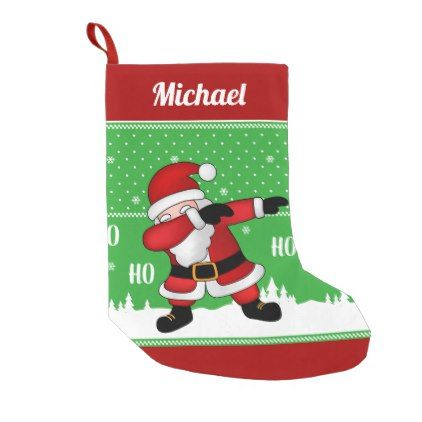 funny santa claus dabbing small christmas stocking diy cyo customize create your own personalize - Funny Christmas Stockings