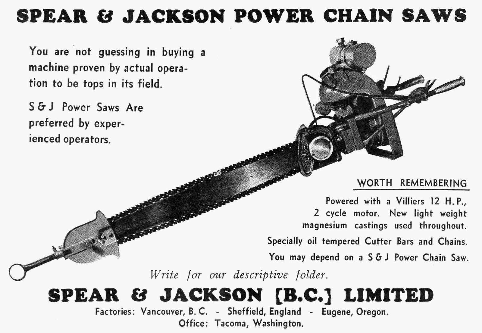 A Very Early Chainsaw With A Factory In Vancouver Bc My Hometown Chainsaw Vintage Tools Power Saws