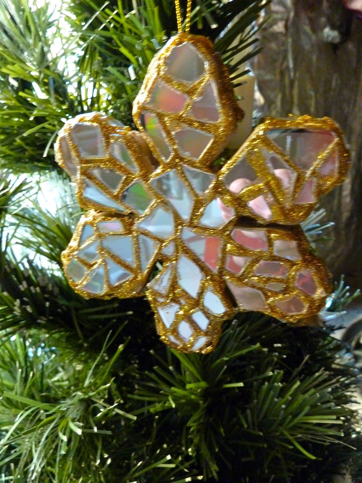 Recycled CD snowflake ornament